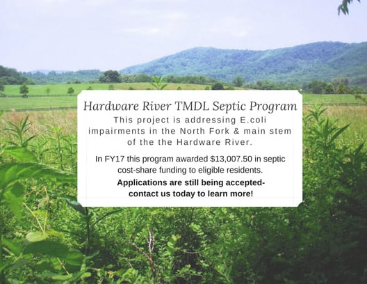 Funding available to repair septic systems to improve water quality in the Hardware River