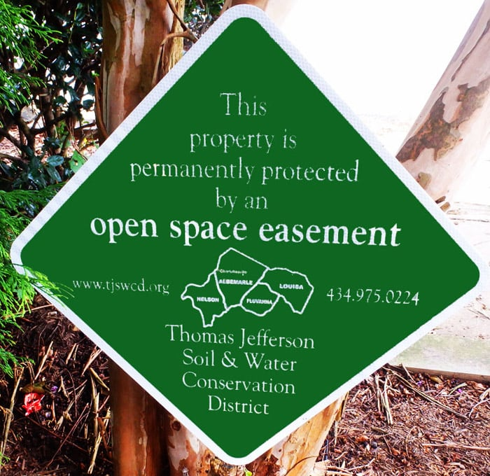 Sign shows land protected by TJSWCD easement