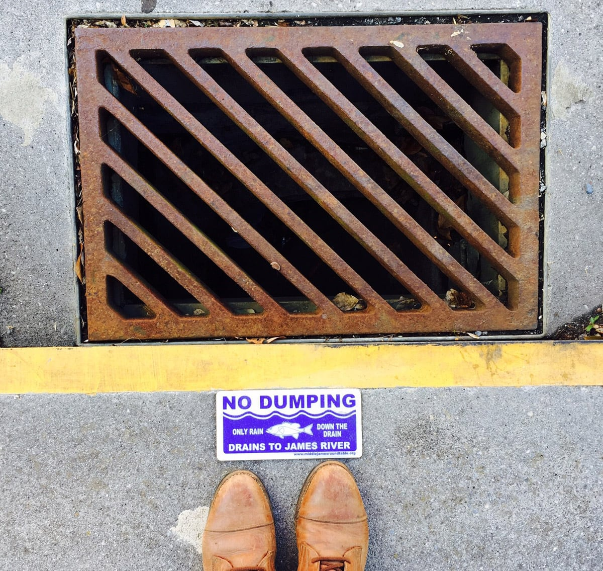 Sign to inform the public that storm sewers are not for dumping
