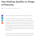 Hay Making: Quality vs. Stage of Maturity