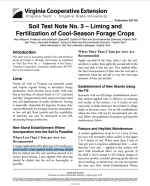 Soil Test Note No. 3 – Liming and Fertilization of Cool-Season Forage Crops