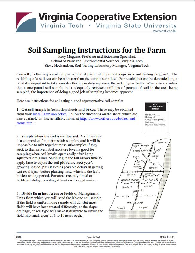 Soil Sampling Instructions for the Farm