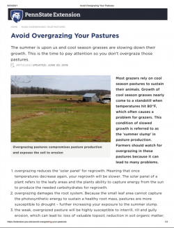 Avoid Overgrazing Your Pastures