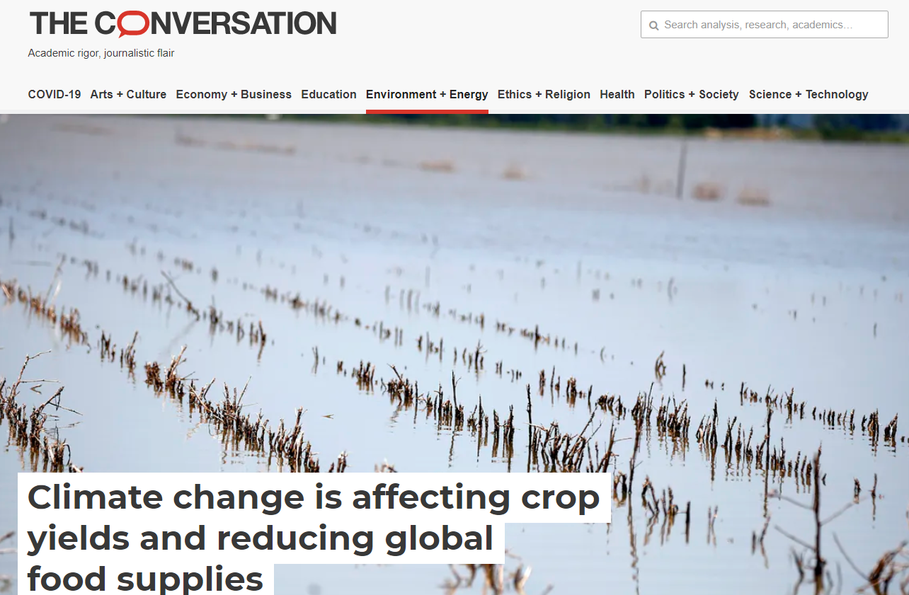 Climate change is affecting crop yields and reducing global food supplies